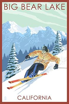 Big Bear Lake, California – Downhill Skier (24×36 SIGNED Print Master Giclee Print w/ Certificate of Authenticity – Wall Decor Travel Poster) Review