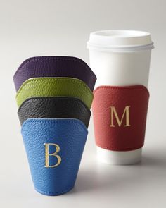 Great gift for java lovers: Monogrammed Leather Coffee Cozies, $28