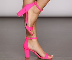 Bring the party with a pop of color! These neon heels showcase a bright glow and an open toe. These short heels have a ankle strap as well as a strap over the toes. Zipper closure located at the back of the heel. Bright Pink Heels, Pink Block Heels, Neon Heels, Pink High Heels, Colorful Heels, Stiletto Heels, Silver Heels Prom, Mens Shoes Sale, Black Shoes