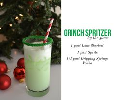 """Christmas Drink / Cocktail: """"Grinch Spritzer"""" Lime sherbert, sprite and vodka - I would leave out the vodka and serve as super cute kiddie cocktails :)"""