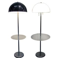 Two Vintage Mid Century Walter Von Nessen Floor Lamps chrome and Lucite marked nessen 1250. each