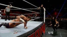 GIF of Roman Reigns' Sick Kick to CM Punk's Head on RAW... NIGHT NIGHT PUNKZ:)