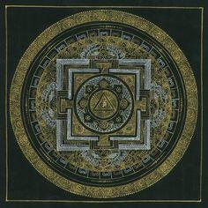 曼荼羅 Mandala 仏教 ネパール/チベット メディテーション パワー 釈迦 手書き インテリア 仏画 SM-10【オムマントラマンダラ 26.4cm x 24.2cm】