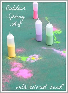 Outdoor Spring Activity for Kids: Drawing with Spring-Colored Sand~ Buggy and Buddy