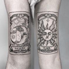 Tarot sun and moon cards inked by Angelica Talavera Bff Tattoos, Dope Tattoos, Mini Tattoos, Future Tattoos, Black Tattoos, Body Art Tattoos, Small Tattoos, Sailor Tattoos, Arabic Tattoos