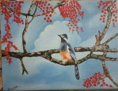 "Blue Bird, oil on 14""X18"" canvas board"
