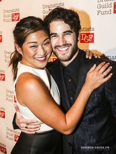 Jenna Ushkowitz and Darren Criss attend the Dramatists Guild Fund's Gala: 'Great Writers Thank Their Lucky Stars' at Gotham Hall on October 26, 2015 in New York City.