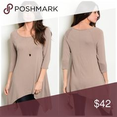 🆕 🍁Asymmetrical Tunic🍁 Taupe color 96% rayon, 4% spandex Made in USA True to size Threadzwear Tops Tunics
