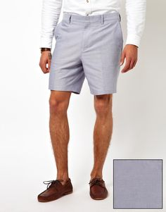 ASOS - Blue Slim Fit Shorts in Oxford