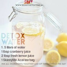 Detox Water // Via: @teatoxtips  Cleanse & nourish your body from the inside out with an all natural SkinnyMe teatox: www.skinnymetea.com.au