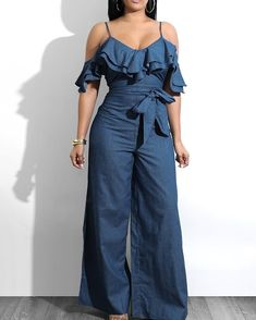 Layered Ruffles Belted Slip Denim Jumpsuit We Miss Moda is a leading Women's Clothing Store. Offering the newest Fashion and Trending Styles. Casual Jumpsuit, Denim Jumpsuit, Jumpsuit Outfit, Trend Fashion, Denim Fashion, Spring Fashion, Style Fashion, Blue Jumpsuits, Jumpsuits For Women