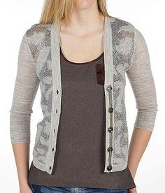 BKE+Boutique+Metallic+Cardigan+Sweater