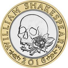 This is part of three coins to commemorate Shakespeare. This design celebrates his tragedies, featuring a skull and a rose design. Rare British Coins, Rare Coins, The Hollow Crown, Valuable Coins, Old Money, Yesterday And Today, British History, Coin Collecting, Old Pictures