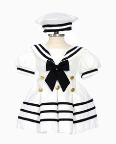 Amazon.com  Classykidzshop White Girl Sailor Dress with Navy Blue Strip   Clothing Toddler · Toddler OutfitsBaby HatsNautical ... 117e0f42bbdd