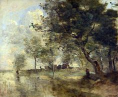 Jean-Baptiste-Camille Corot - A Flood [c.1870-75]  Art Experience NYC: www.artexperiencenyc.com