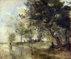Jean-Baptiste-Camille Corot - A Flood [c.1870-75]  Art Experience NYC: www.artexperiencenyc.com