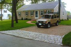 I want the driveway lined with brick and slag in between...nice alternative to concrete out here in the country...
