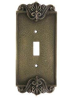 Art Nouveau Single Toggle Cover Plate In Antique-By-Hand Finish Art Nouveau Bedroom, Art Nouveau Interior, Switch Plate Covers, Light Switch Plates, Vintage Wedding Colors, Garage Sale Finds, 3d Printed Jewelry, Antique Hardware, Art Deco Design