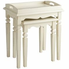 Jenna Nesting Tables with Tray - Antique White - Pier One - These would be awesome for bedside tables.