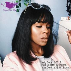 Short Bob Human Hair Wigs With Bangs Brazilian Full Lace Human Hair Wigs For Black Women Human Hair Lace Front Wig Online with $72.37/Piece on Virginhairwigs's Store | DHgate.com