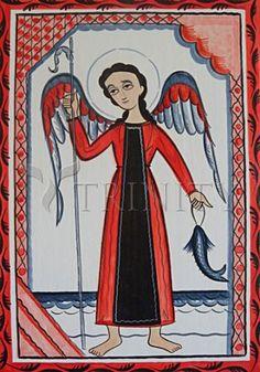 "St. Raphael Archangel | Catholic Christian Religious Art - Retablos by Br. Arturo Olivas, SFO - From your Trinity Stores crew, ""St. Raphael pray for us!"""