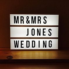 You could use this vintage cinema sign to create a romantic wedding decoration to display your new Mr. and Mrs. status. Afterwards, use it to display whatever you want in your new home. | LED Cinematic Light Box with Changeable Letters Tiles A4 Size for Home - @amazon #weddingregistry
