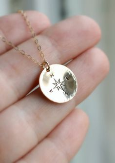 Compass Necklace Traveler Necklace, Best Friends, Gold Compass by LRoseDesigns, $36.75