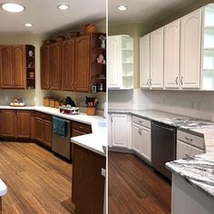 I love it when I'm the last step in a kitchen makeover! New counters, new backsplash and painted cabinets = new kitchen! Cabinet color is Simply White (Ben Moore), one of my go-to whites. What are you working on this weekend? Refacing Kitchen Cabinets, Cabinet Refacing, Modern Kitchen Cabinets, Kitchen Cabinet Colors, Built In Cabinets, Kitchen Paint, Kitchen Design, Cabinet Makeover, Cabinet Ideas