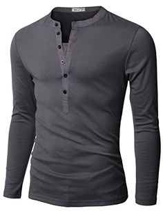 6f0932a483 Doublju Mens Basic Slim Fit Long Sleeve Henley Shirts at Amazon Men s  Clothing store