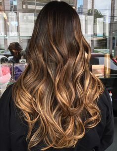Long+Caramel+Brown+Balayage+Hair