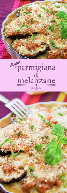 My vegan parmigiana di melanzane is a delicious oven-baked dish with aubergine, home made tomato and herb sauce, and vegan mozzarella and parmesan cheeses.   yumsome.com via @yums0me