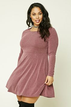 Forever 21+ - A brushed, ribbed knit skater dress featuring a marled faded look, a round neckline, and long sleeves.