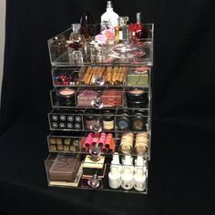 Clear Acrylic Makeup Organizer 6 & 7 Drawer Clear Cube Cosmetic Pink Crystal Knob Flip Top with Dividers Cosmetic Storage, Makeup Storage, Makeup Organization, Clear Acrylic Makeup Organizer, Lipstick Organizer, Crystal Knobs, Makeup Collection, Beauty Hacks, Hair Makeup