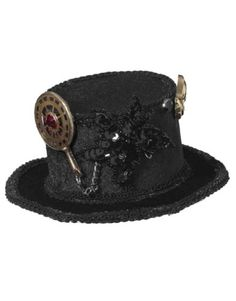 nice Mini Steampunk Top Hat With Gears Adult Accessory