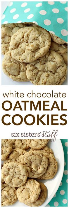 White Chocolate Oatmeal Cookies from SixSistersStuff.com | Summer Dessert Recipe | Kid Approved Snack Ideas