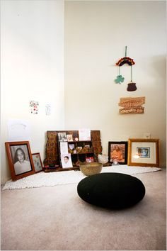 A home meditation corner can be very simple... curtained meditative reading sacred space in nook in massage studio ideas.