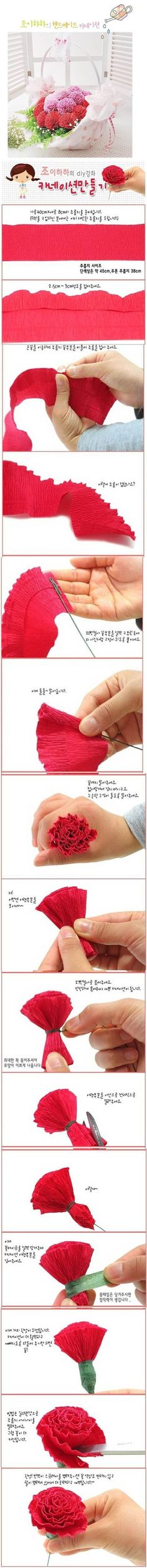 DIY Beautiful Crepe Paper Carnation | iCreativeIdeas.com LIKE Us on Facebook == https://www.facebook.com/icreativeideas