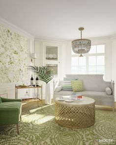 A Classic Formal Living Room Inspired By Pantoneu0027s Color Of The Year,  Greenery