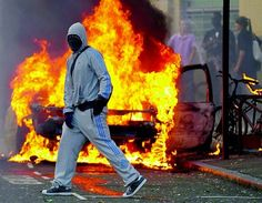 In case your out of the loop, riots broke out in Tottenham, England after the police shot a young man to death. Beautiful photo though.