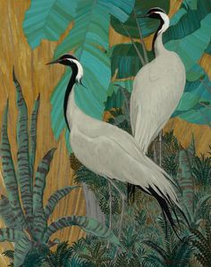Jessie Arms Botke (American, 1883-1971) - Demoiselle Cranes, oil and gold leaf on board, 101,5 x 81,2 cm.