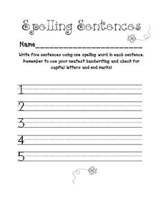 Spelling Practice Printables- Sentences, Rainbow Words and More!