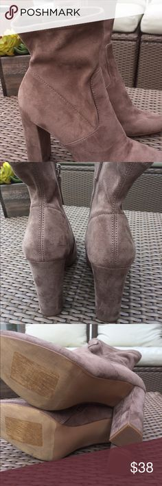 """💥💥Final price cut 💥💥New Steve Madden boots Steve Madden boots color taupe 4"""" heel .Left boot  needs sawing in a small section Please see pictures price adjusted to sell. Steve Madden Shoes Ankle Boots & Booties"""