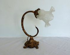 Antique French bronze table lamp with pink tulip by Frenchidyll
