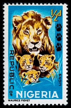 Lions, designed by Maurice Fievet, printed by photogravure (Delrieu), and issued by Nigeria on November 1, 1965, Scott No. 184.