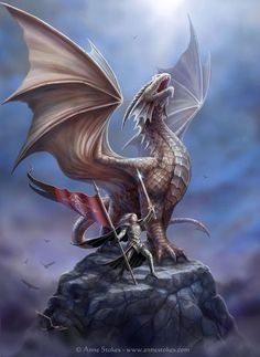 Sorrel's Dragons: A dragon and her warrior crying defiance before entering the fray?