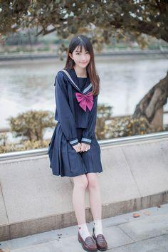 Pin by Loli ta on 純 School Uniform Fashion, Japanese School Uniform, School Girl Outfit, School Uniform Girls, Girls Uniforms, Girl Outfits, School Girl Japan, Japan Girl, Cute Asian Girls