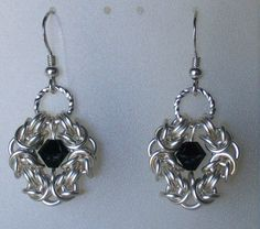 Romanov Silver and Black Chainmaille Earrings Byzantine Weave Sterling Ear Hooks. $25.00, via Etsy.