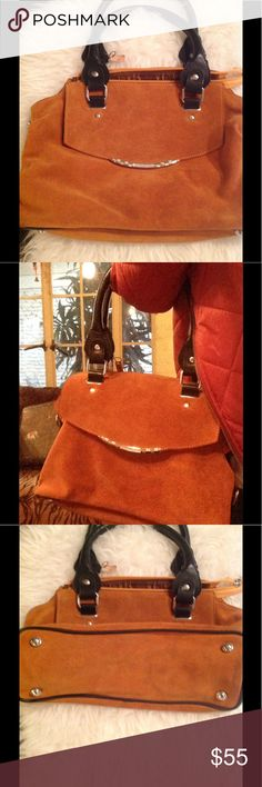 New! Rusty brown suede handbag boho chic! 💕 Awesome soft suede black leather satchel . Pockets inside ten 9 LA Bags
