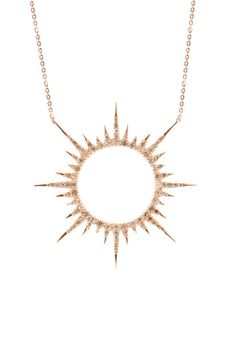 The Woods Rose Gold and Diamond Sun Necklace at ShopGoldyn.com