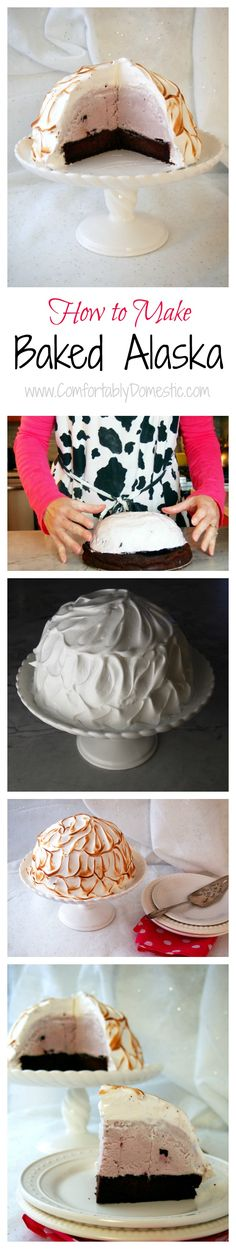 Baked Alaska is made by encasing layers of cake and ice cream encased in meringue, and then toasted. Baked Alaska is a fun & whimsical dessert.